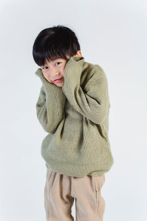 A shy little boy